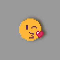 Pixel art smile kissing.