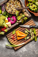fresh fruit, vegetables, cereals, nuts and greens, the ingredients for a healthy lifestyle, healthy food in a wooden box