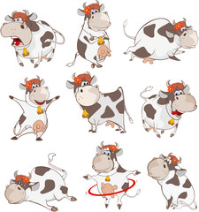 Canvas Prints Baby room Set of Vector Cartoon Illustration. A Cute Cow for you Design