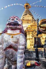Lion, Main Stupa, Swayambhunath, Kathmandu, Nepal