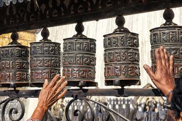 Spinning Prayer wheels, Swayambhunath, Kathmandu, Nepal