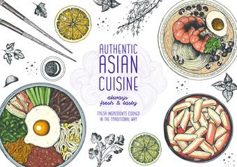 Asian food top view. Korean food menu restaurant. Cartoon style. Colored design template.