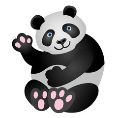 Panda mascot. It is sitting and smiling