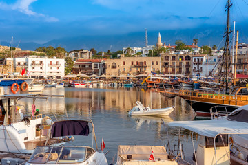 Boats and yachts moored at the beautiful Harbour of Kyrenia. Cyprus