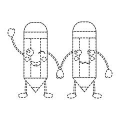 cartoon pencils kawaii character funny vector illustration sticker design