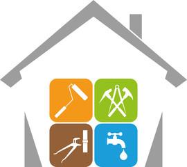 Haus, Hausmeister, Werkzeuge, Hausmeister Service, Logo