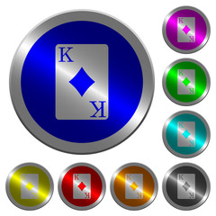 King of diamonds card luminous coin-like round color buttons