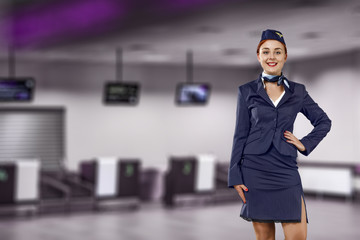 stewardess and airport background.