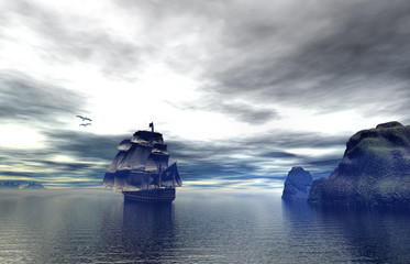 An old pirate ship out at sea an early morning, 3d rendering