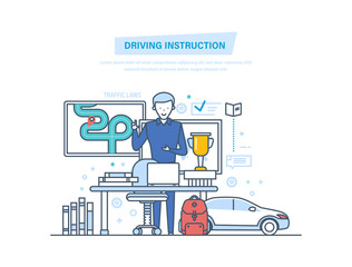 Driving instruction by car. Driving school or learning to drive.