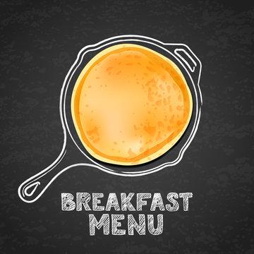 Tasty pancake and hand drawn outline watercolor pan, on textured black board slate background. Vector design for breakfast dessert menu, cafe, restaurant. Morning recipe illustration.