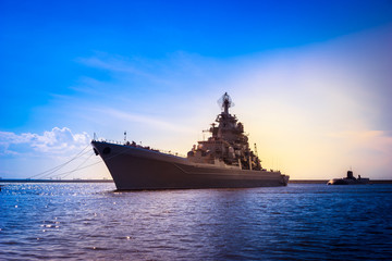 The military cruiser. Rocket cruiser. A submarine with a missile cruiser.
