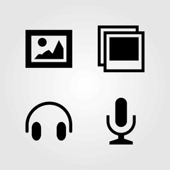 Multimedia vector icons set. picture, microphone and headphones