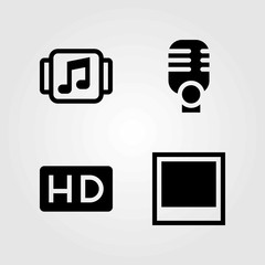 Multimedia vector icons set. microphone, photo and hd