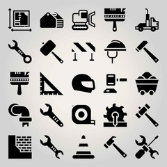 Construction vector icon set. toolbox, barrier, cone and saw