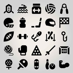 Sport vector icon set. jet ski, football gate, billiard and rafting