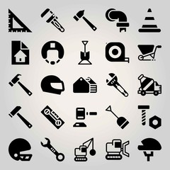 Construction vector icon set. toolbox, cone, auction and wrench