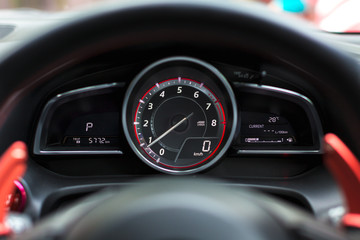 speedometer car mileage close up