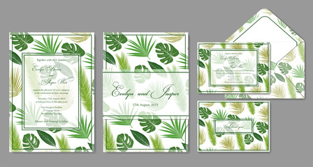 Wedding invite, envelope, rsvp, holiday card. Design with Green palm leaves on a white background and frames in summer style. Vector