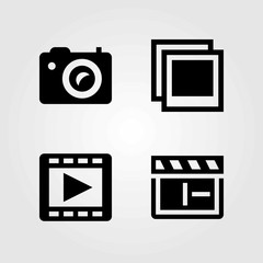 Multimedia vector icons set. clapperboard, photo and photo camera