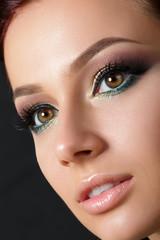 Closeup portrait of young beautiful woman