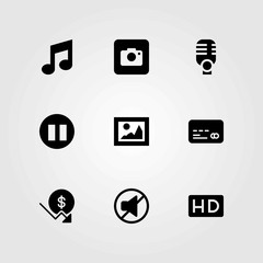 Buttons vector icons set. mute, photo camera and credit card