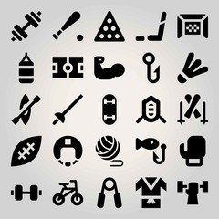 Sport vector icon set. punching bag, weightlifting, rafting and helmet