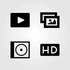 Multimedia vector icons set. picture, compact disk and video player