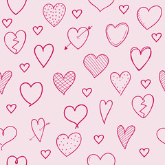 Concept of seamless background with hand drawn hearts. Vector.