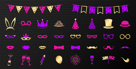 Set of funny costume icons. Vector.