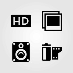 Multimedia vector icons set. speaker, film roll and hd