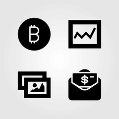 Buttons vector icons set. picture, money and coin
