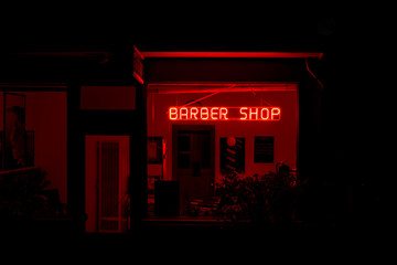 Barber Shop at Night