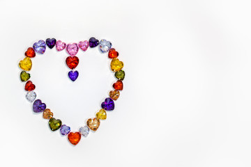 Wall Mural - heart decorated with colorful diamonds for valentine day
