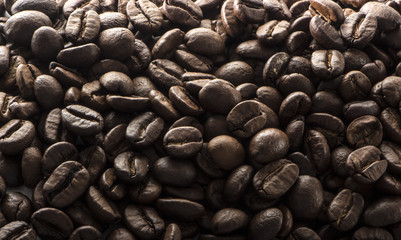 Texture of mouth-watering coffee seeds with high contrast