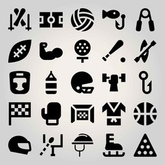Sport vector icon set. fishing, golf, helmet and flag