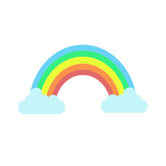 Color rainbow with clouds. Cute rainbow fantasy. Vector stock.