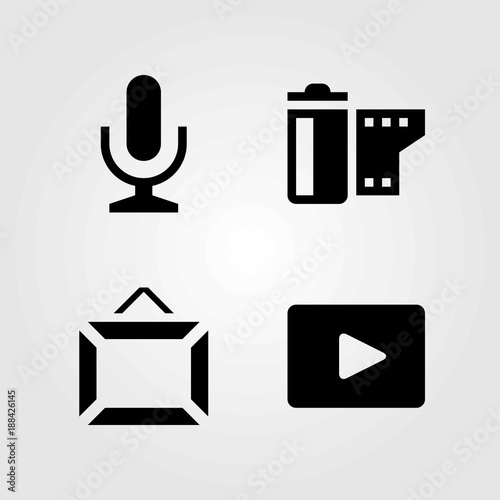 Multimedia vector icons set. mic, film roll and frame\