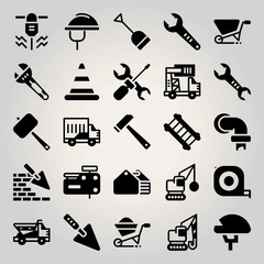 Construction vector icon set. brickwall, driller, ladder and dumper