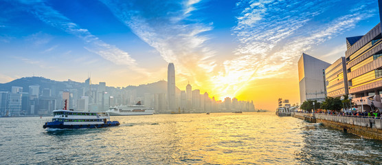Hong Kong. Victoria Harbour and Hong Kong Central. Taken from Avenue of Stars. Located in Hong Kong.