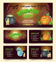 Halloween party vector banners and invitation template of pumpkin lantern and spooky ghost in dark forest. Cartoon design of witch cauldron, skull and candles for October Halloween holiday party cards