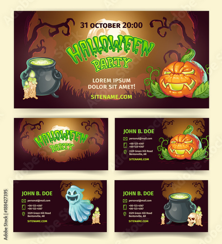 halloween party vector banners and invitation template of pumpkin