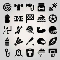 Sport vector icon set. baseball, punching bag, fishing and badminton