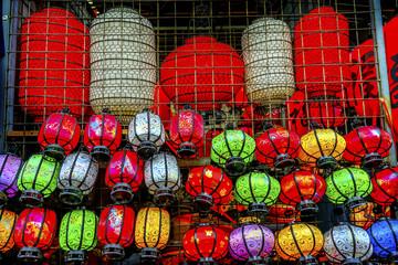 Colorful Chinese Paper Lanterns Panjuan Flea Market  Beijing China