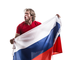Russian athlete / fan celebrating on white background