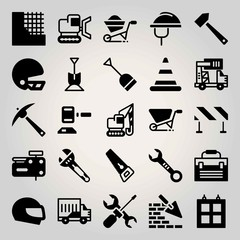 Construction vector icon set. window, barrier, shovel and brickwall