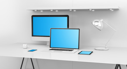 Modern white desk interior with computer and devices 3D rendering