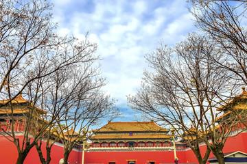 Meridian Gate Entrance Gugong Forbidden City Palace Beijing China