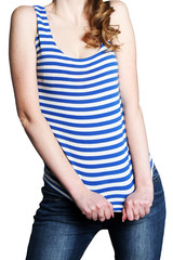 The slender figure of the girl in the striped shirt and jeans