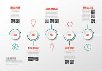 Red and Teal Horizontal Timeline Infographic